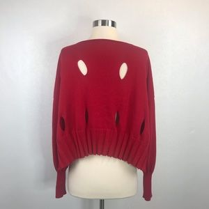 Planet by Lauren G Sweaters - Planet by Lauren G Red Holed Sweater